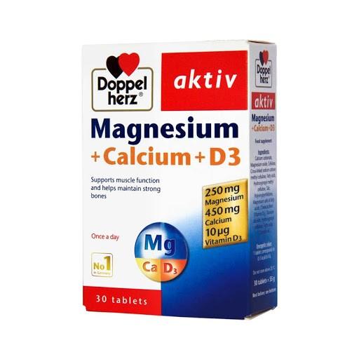 Thực phẩm chức năng Doppelherz Aktiv MAGNESIUM CALCIUM D3 30 viên - Viên uống giúp XƯƠNG CHẮC KHỎE, phát triển HỆ XƯƠNG KHỚP tối ưu