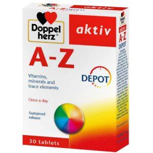 Doppelherz Aktiv A Z DEPOT 30 viên – Thực phẩm bảo vệ sức khỏe giúp bổ sung VITAMIN, ACID AMIN và KHOÁNG CHẤT THIẾT YẾU