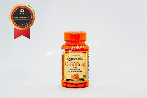 Thực phẩm chức năng Puritan's Pride Vitamin C-500mg with Protective Bioflavonoids & Wild Rose Hips 100 viên