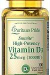 Puritan's Pride SUNVITE HIGH POTENCY VITAMIN D3 25mcg (1000IU) – Viên uống Bổ sung VITAMIN D3 cần thiết cho cơ thể