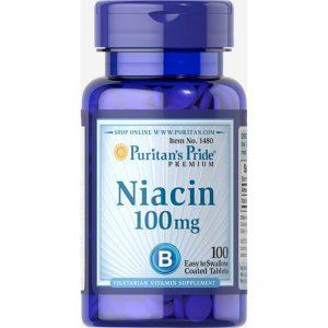 Viên uống Puritan's Pride NIACIN 100mg (Hộp 100 viên) – Bổ sung vitamin HỖ TRỢ GIẢM MỤN, VIÊM DA ở người lớn