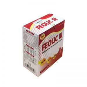 FEOLIC III 150 mg – Thực phẩm chức năng BỔ SUNG SẮT VÀ VITAMIN NHÓM B cho NGƯỜI THIẾU MÁU THIẾU SẮT
