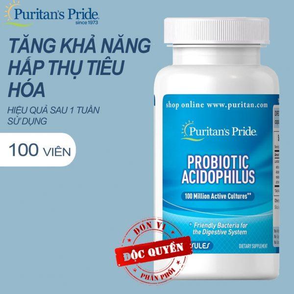 Men vi sinh Puritan's Pride Probiotic Acidophilus - Tăng cường lợi khuẩn, cân bằng hệ vi sinh đường ruột