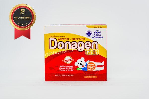 Thực phẩm bảo vệ sức khỏe DONAGEN GOLD giúp bổ sung các acid amin và vitamin có lợi dành cho trẻ biếng ăn, chậm lớn, tiêu hóa hấp thu kém