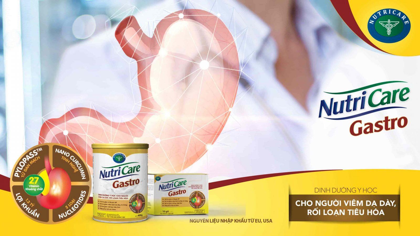 Sữa Nutricare Gastro là sản phẩm dinh dưỡng y học cho người viêm dạ dày, rối loạn tiêu hóa với dưỡng chất Pylopass và Tinh nghệ curcumin giúp bảo vệ dạ dày toàn diện.