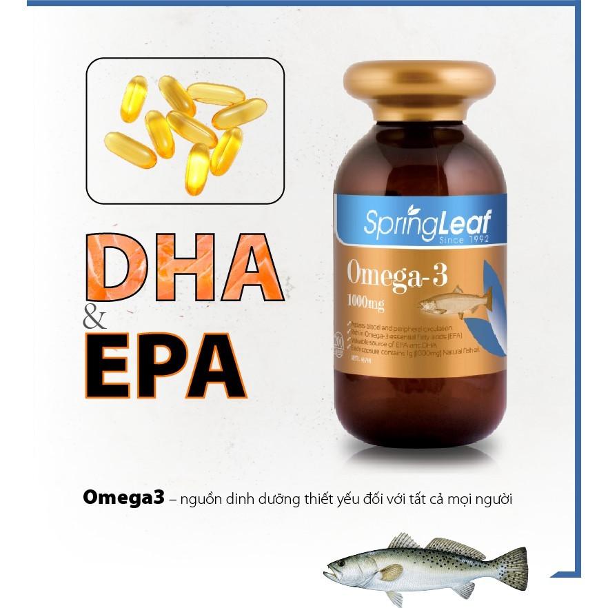 Viên uống dầu cá Spring Leaf Omega-3 1000mg chứa DHA và EPA– Tăng cường sáng mắt, hỗ trợ tim mạch não bộ.