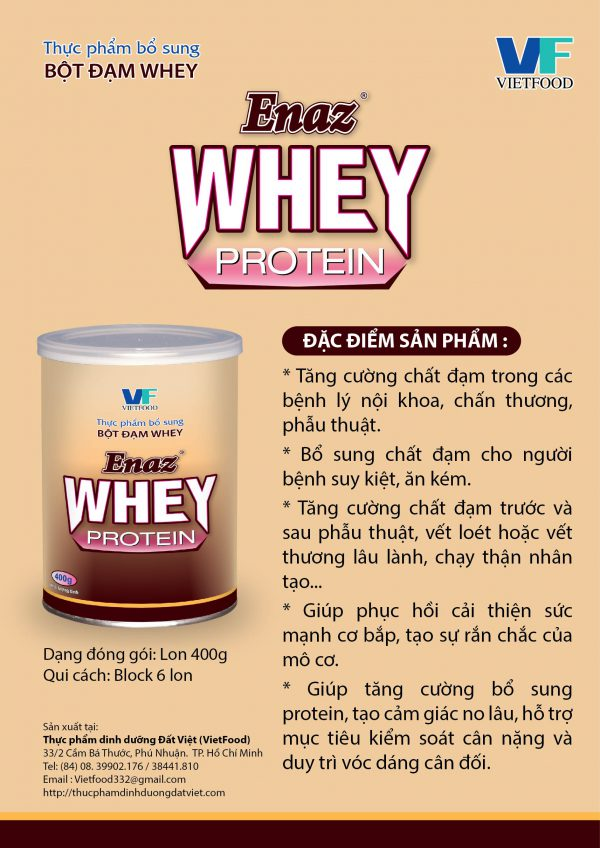 Enaz Whey Protein - Bột đạm whey protein bổ sung chất đạm giúp tăng cường chất đạm cho người mắc các bệnh lý, giúp phục hồi và phát triển cơ bắp, tăng cường sức mạnh khi vận động.