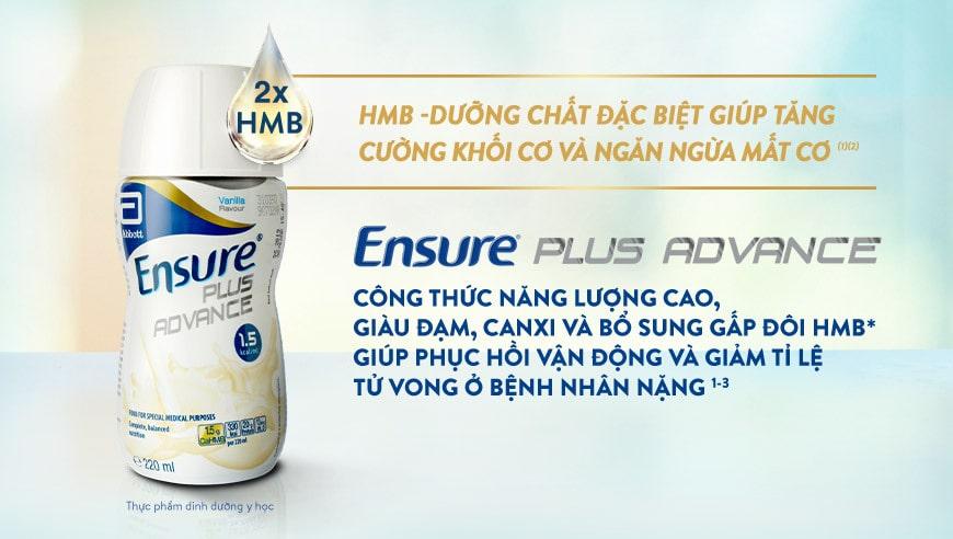 Sữa Ensure Plus Advance công thức dinh dưỡng tối ưu bổ sung thêm đạm HMB với chứng minh lâm sàng giảm tử vong ở bệnh nhân nặng