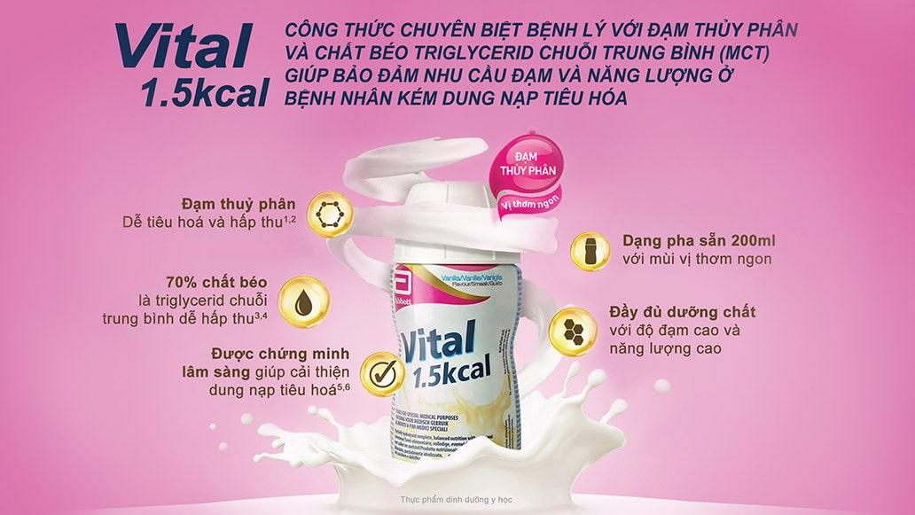 Sữa Vital 1.5 kcal có thành phần chứa đạm whey và casein thủy phân theo tỉ lệ 70:30.