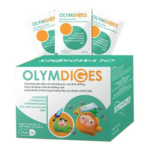 Gói 3g cốm Olymdiges gold bổ sung toàn diện men tiêu hóa và lợi khuẩn giúp trẻ hấp thu, tiêu hoá được cải thiện