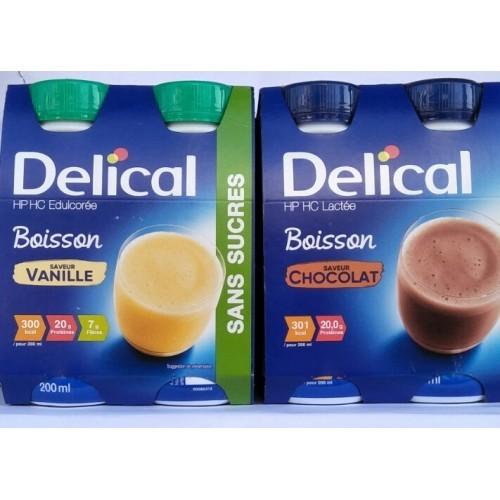 Sữa nước Delical có hàm lượng 200ml với hai hương vị Chocolate và Vani, thơm ngon dễ uống