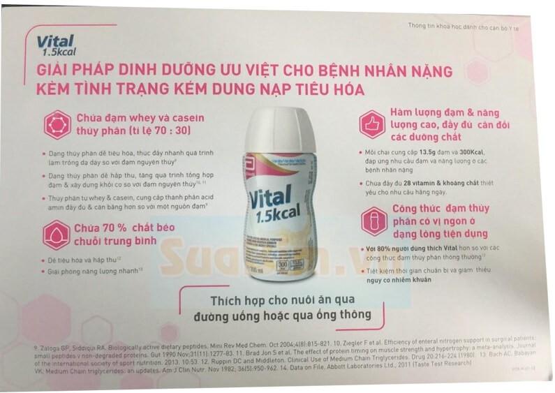 Sữa Vital 1.5Kcal– Dinh dưỡng cho bệnh nhân suy kiệt, bệnh nhân kém hấp thu