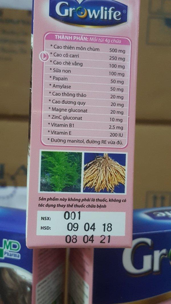 Hình ảnh thành phần sản phẩm của cốm lợi sữa Growlife
