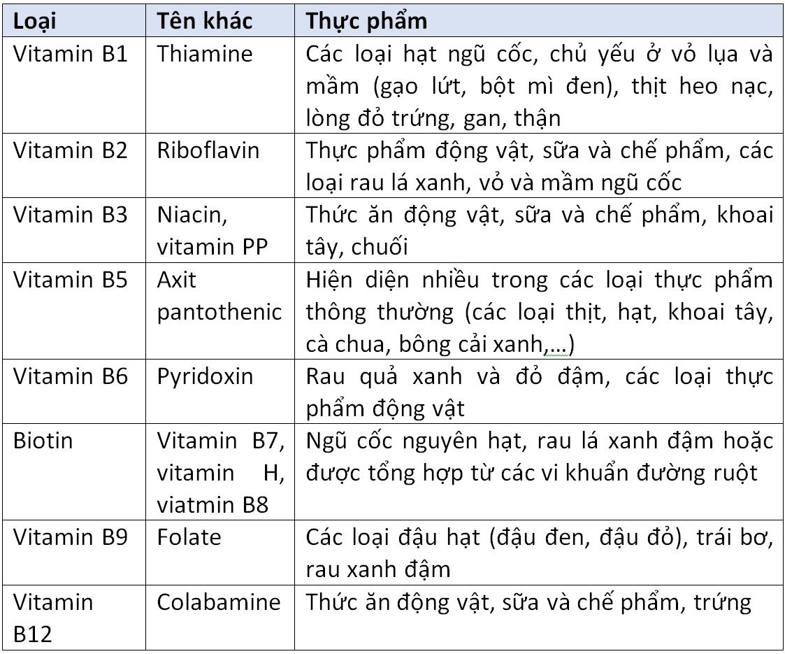 Bảng các vitamin thuộc nhóm vitamin B