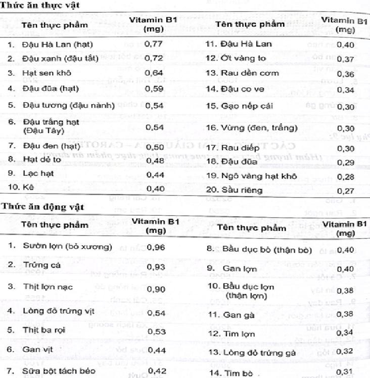 Hàm lượng vitamin B1 trong 100g các thực phẩm thông dụng