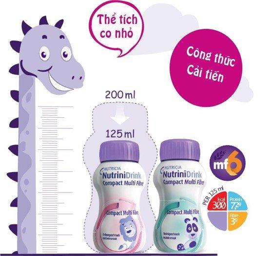 Sữa Nutrinidrink Compact Multi Fibre dành cho trẻ suy dinh dưỡng nhẹ cân từ 1-12 tuổi
