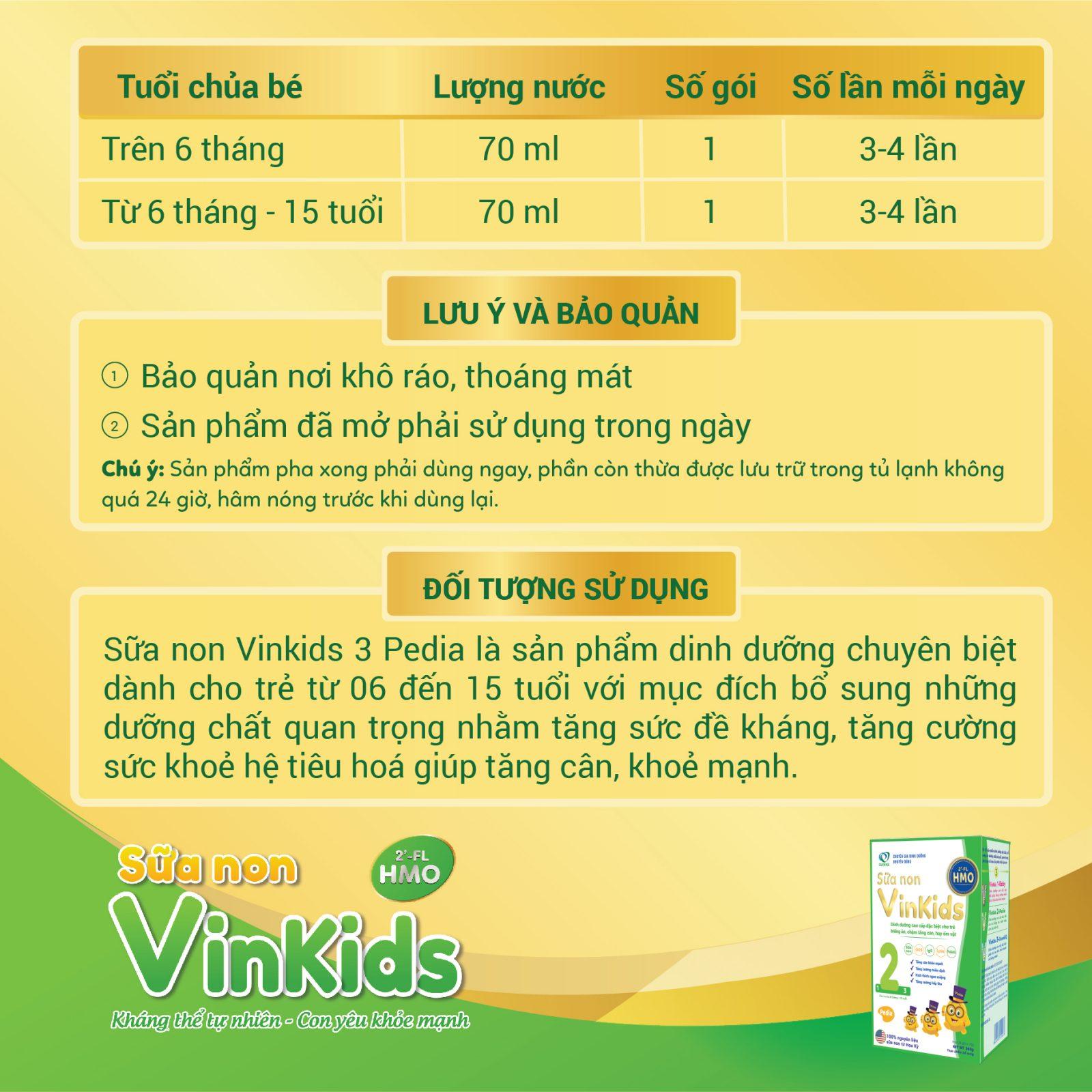 Hướng dẫn sử dụng sữa non Vinkids số 2 pedia