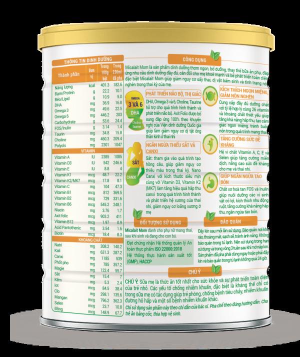 Sữa Micalait Mom - Dinh dưỡng chuẩn cho mẹ bầu