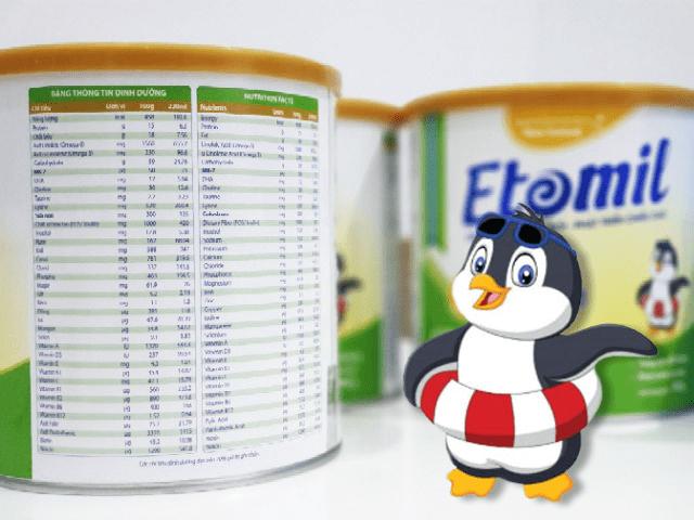 Thành phần sữa Etomil 3X grow